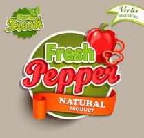 Étiquette d'aliments biologiques - logo de poivre frais. vecteur