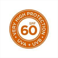 Protection UV, solaire, Très haut SPF 60 vecteur