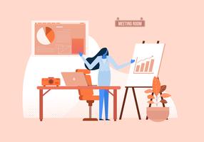 Gestionnaire, présentation, vecteur données entreprise, plat, illustration