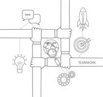 concept de travail d'équipe linéaire