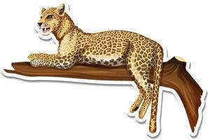 un modèle d'autocollant de personnage de dessin animé léopard vecteur