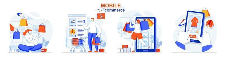 le concept de commerce mobile définit des scènes isolées de personnes dans un design plat vecteur