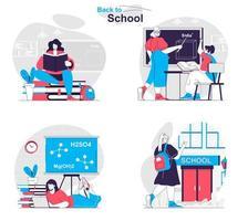 le concept de retour à l'école définit des scènes isolées de personnes dans un design plat vecteur
