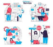 concept de service client défini des scènes isolées dans un design plat vecteur