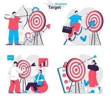 concept de cible d'entreprise défini des scènes isolées de personnes dans un design plat vecteur