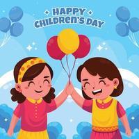 les meilleurs amis célèbrent la journée des enfants vecteur
