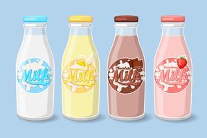 Étiquettes sur des bouteilles de lait. vecteur