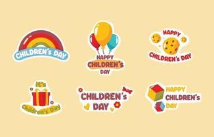 collection d'autocollants pour la journée des enfants vecteur