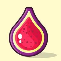 illustration de tranche de fruit de figue dans un style plat vecteur