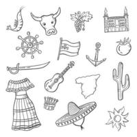 espagne pays nation doodle collections de jeux dessinés à la main vecteur