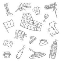 italie pays nation doodle collections de jeux dessinés à la main vecteur