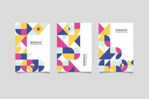 collection de couvertures d'affaires géométriques plates en mosaïque vecteur