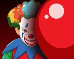 clown effrayant souriant avec un ballon rouge vecteur