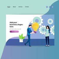 Modèle de conception de page Web pour réunion de travail et brainstorming vecteur