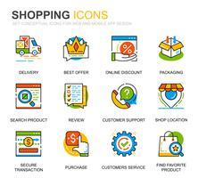Icônes de ligne de magasinage et de commerce électronique simples pour sites Web et applications mobiles vecteur