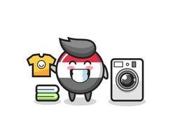 mascotte, dessin animé, de, drapeau yémen, insigne, à, machine à laver vecteur