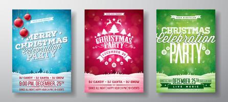 Illustrations de prospectus de fête de joyeux Noël vecteur