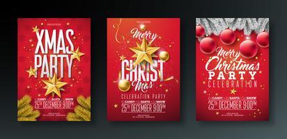 Illustrations de prospectus de fête de joyeux Noël