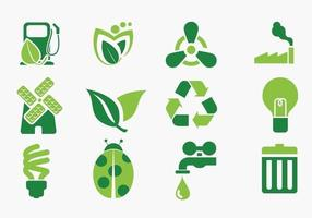 Green Eco Icon Pack Vector