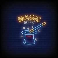 spectacle de magie vecteur de texte de style enseignes au néon