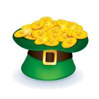 chapeau de cylindre avec des pièces d'or vecteur