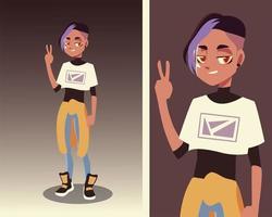 jeune personnage masculin portant la culture des jeunes et des vêtements à la mode vecteur
