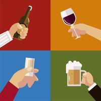 les mains tiennent des verres tasse bouteille bière vin et cocktails, acclamations vecteur