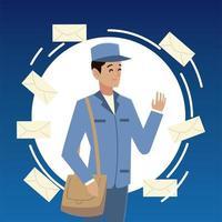 caractère de facteur du service postal en uniforme avec des enveloppes vecteur