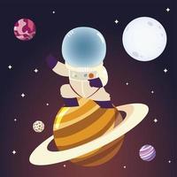 astronaute de l'espace sur la planète saturne personnage lune et étoiles cosmos vecteur