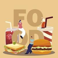 personnes avec mot de nourriture, soda sandwich burger et jus vecteur