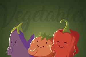 légumes kawaii mignon poivron tomate et aubergine style cartoon vecteur