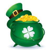 Chapeau haut de forme sur le pot de pièces d'or vecteur