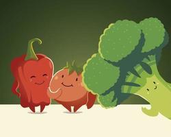 légumes kawaii dessin animé mignon brocoli tomate et poivre vecteur