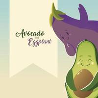 légumes kawaii mignon dessin animé avocat et aubergine vecteur