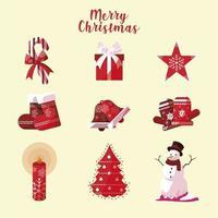 joyeux noël icônes collection bonbons chapeau star chaussette cloche arbre vecteur