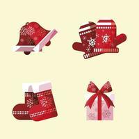 joyeux noël mitaines décoratives chaussettes cadeau et cloche avec des flocons de neige vecteur