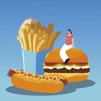 femme avec burger hot dog et frites fast food savoureux vecteur