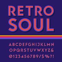 Alphabet coloré à rayures rétro vecteur