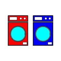 machines à laver rouges et bleues icône vector illustration de style plat