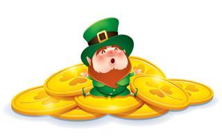lutin Cartoon en chapeau haut de forme vert vecteur