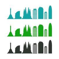 skyline barcelone illustré sur fond blanc vecteur