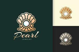 le logo de perle de luxe représente des bijoux ou des pierres précieuses dignes de la beauté et de la mode vecteur