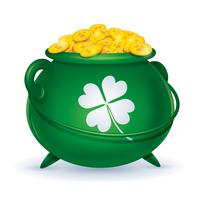 pot vert avec des pièces d'or vecteur