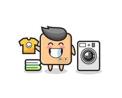 caricature de mascotte de boîte en carton avec machine à laver vecteur