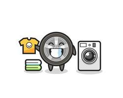 caricature de mascotte de roue de voiture avec machine à laver vecteur