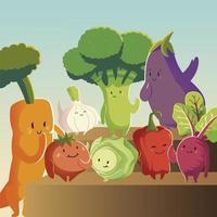 légumes kawaii dessin animé mignon carotte tomate aubergine betterave oignon vecteur