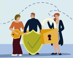 les personnes tenant différents objets incluent un cadenas à clé et un bouclier vecteur