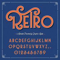 Alphabet de style graphique vintage rétro vecteur