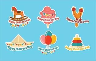 collection d'autocollants joyeux jour des enfants vecteur