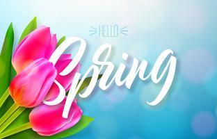 Bonjour printemps nature design vecteur